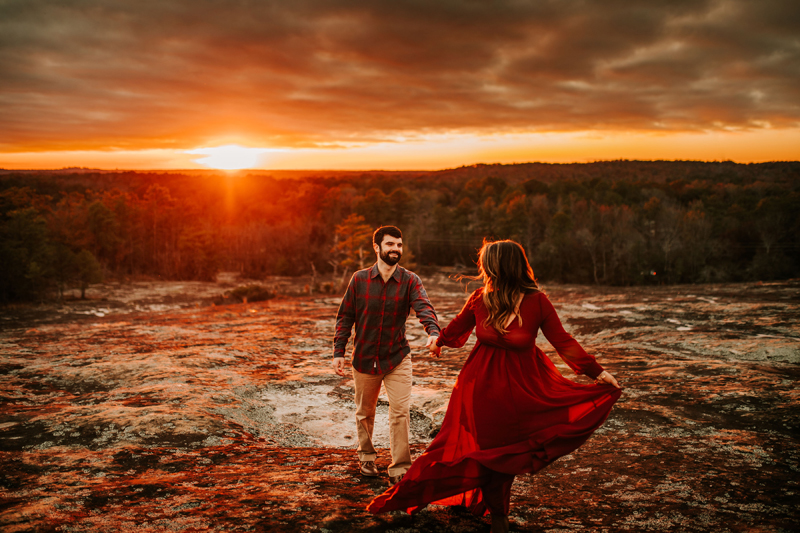 Atlanta Couples Photographer, couple walking hand in hand during sunset